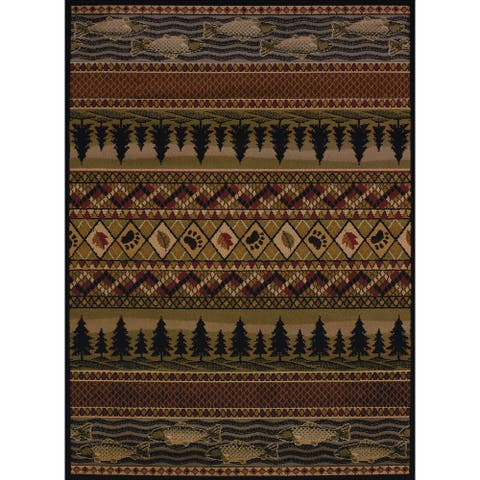 Copper Grove Bighorn Fish & Paws Area Rug