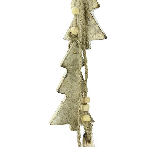 "20"" Natural Brown Four Christmas Trees on Twine Dangle Holiday Ornament"