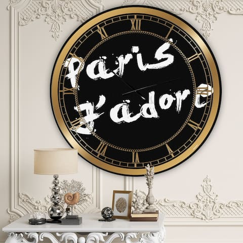 Designart 'Paris Jadore' Oversized Fashion Wall Clock