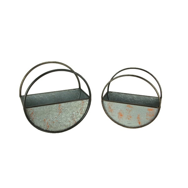 Distressed Galvanized Metal Round Floating Planters Set of 2 - 16.75 X 16.75 X 8 inches