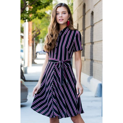 RIAH FASHION Women's Asymmetrical Button Down Striped Tie-Waist Dress
