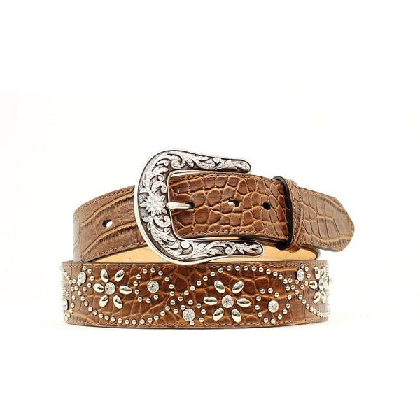 Ariat Western Belt Womens Croc Flower Studs Crystals Brown