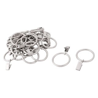 Hotel Metal Curtain Rod Hanging Clip Ring Loop Silver Tone 35mm Inner Dia 30pcs - Silver Tone