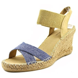 White Mountain Laughline Open Toe Canvas Wedge Sandal
