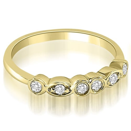 0.20 cttw. 14K Yellow Gold Stylish Bezel Round Cut Diamond Wedding Ring