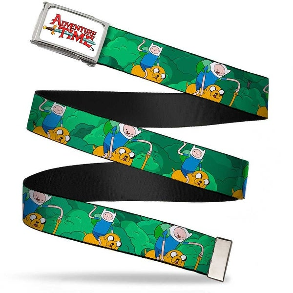 Adventure Time Logo Fcg White Chrome Finn & Jake In Woods1 Webbing Web Belt