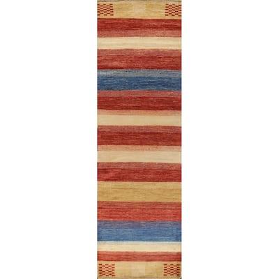 "Striped Gabbeh Kashkoli Oriental Runner Rug Hand-knotted Wool Carpet - 2'7"" x 9'9"""