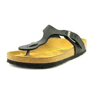 Birkenstock Gizeh Women Open Toe Leather Black Thong Sandal