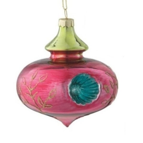 Shiny Pink Floral Witches Eye Christmas Onion Glass Ornament 3.5""