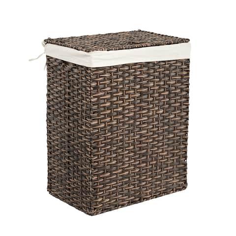 Seville Classics Lidded Foldable Portable Rectangular Laundry Hamper Basket with Washable Liner