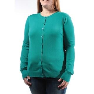 AUGUST SILK Womens New 1226 Teal Long Sleeve Button Up Sweater M B+B