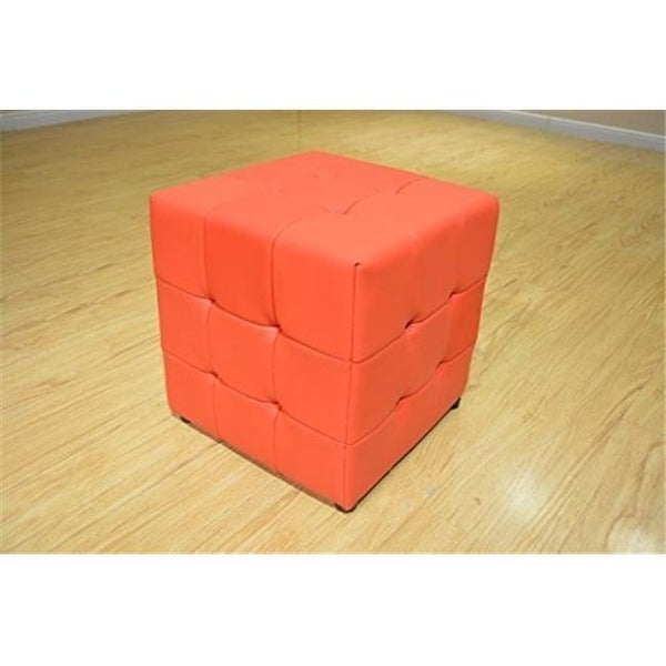 Tufted Cube Ottoman Leather Vinyl Red