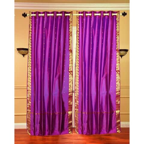 Violet Red Ring Top Sheer Sari Curtain / Drape / Panel - Piece