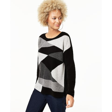 Charter Club Women's Colorblocked Cashmere Sweater Black Size Extra Large