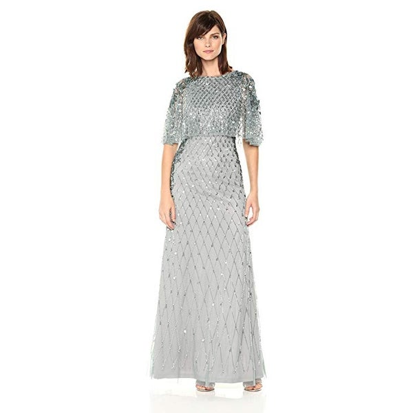Adrianna Papell All Over Beaded Gown with Pop Over Cape, Slate, 16