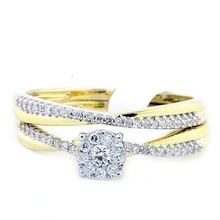 1/4cttw Diamond 10K Yellow Gold Bridal Set 6.5mm Wide(I/j Color 0.25cttw)