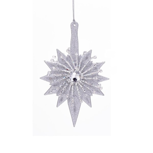 "6"" Clear and Silver Glittered Star with Round Gem Hanging Christmas Ornament"