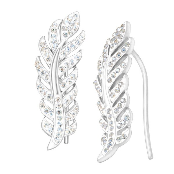 Crystaluxe Feather Ear Crawlers with Swarovski Elements Crystals in Sterling SIlver - White