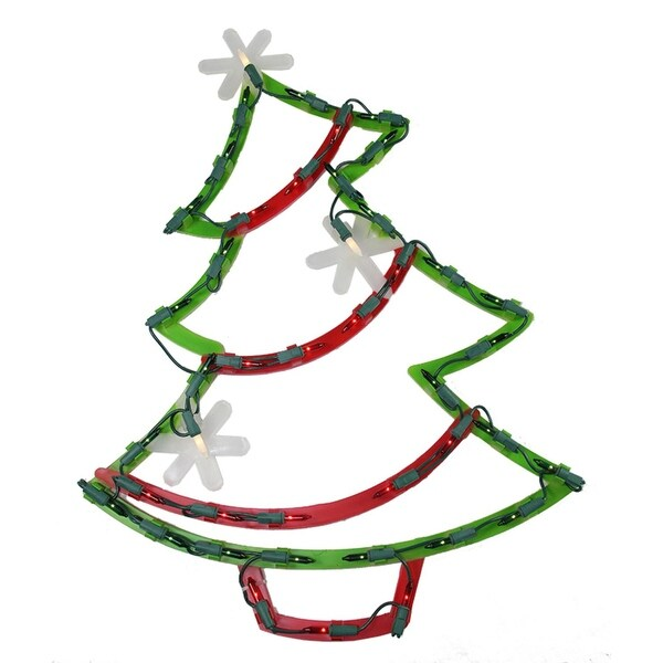 """18"""" Lighted Christmas Tree with Star Ornaments Window Silhouette Decoration - green"""