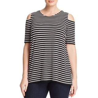 Vince Camuto Womens Plus Casual Top Cold Shoulder Striped