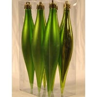 Christmas at Winterland WL-FINIAL-ST-6PK-LG 6-Inch Lime Green Striped Finial Ornaments (Package of 6) - LIME GREEN - N/A