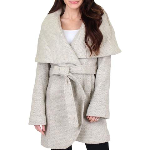T Tahari Womens Marla Wrap Coat Winter Wool Blend
