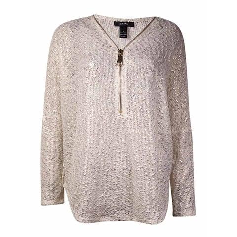 Alfani Women's Open-Knit Metallic Sweater