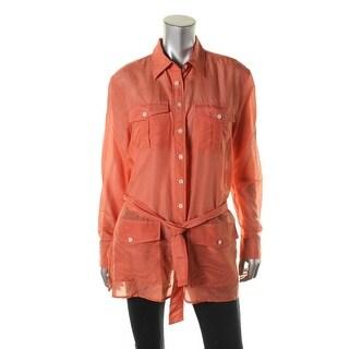 Lauren Ralph Lauren Womens Silk Blend Belted Button-Down Top - L