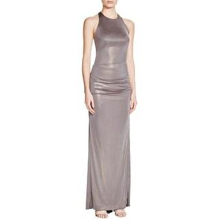 Nicole Miller Womens Evening Dress Metallic Ruched