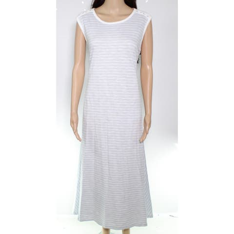 Lauren by Ralph Lauren Women's Dress White Size 1X Plus A-Line Stripe