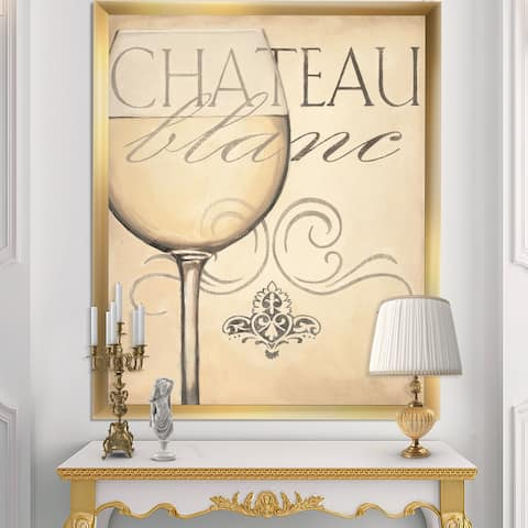 Designart 'French Chateau White Wine II' Food and Beverage Premium Framed Art Print