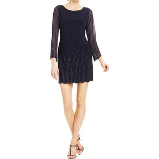 Xscape Womens Petites Cocktail Dress Sheath Beaded