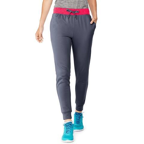 Hanes Sport Women's Performance Fleece Jogger Pants with Pockets - Color - Dada Grey/Razzle Pink Heather - Size - 2XL