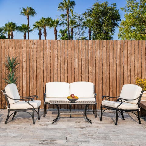 Elm Plus 4 Piece Cast Aluminium Patio Sectional Sofa Set with Cushions