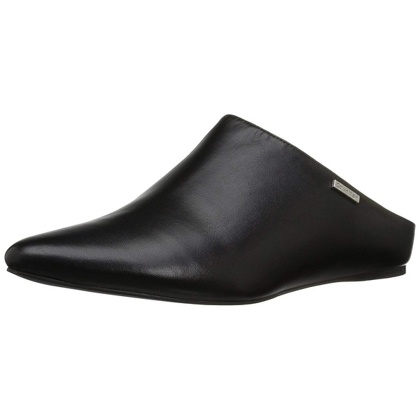 Calvin Klein Women's Maggy Mule, Black Leather, Size 8.0 - 8