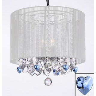 Crystal Chandelier With White Shade and Blue Crystal Hearts