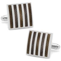 Black and White Striped Square Cufflinks