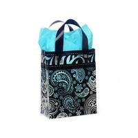 "Pack Of 100, Cub Size 8 x 4 x 10"" Paisley Flourish 3 Mil Plastic Shopping Bags W/6 Mil Handle"