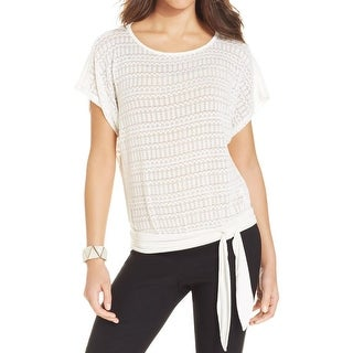 BCX Womens Pullover Top Knit Contrast Trim
