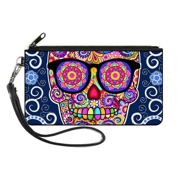Hipster Calavera C U Blue White Multi Color Canvas Zipper Wallet