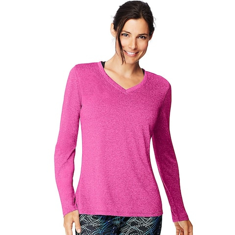 Hanes Sport Cool DRI® Women's Performance Long-Sleeve V-Neck T-Shirt - Color - Amaranth Heather - Size - XL