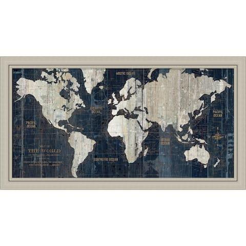 Framed Art Print 'Old World Map Blue' by Wild Apple Portfolio 43 x 24-inch