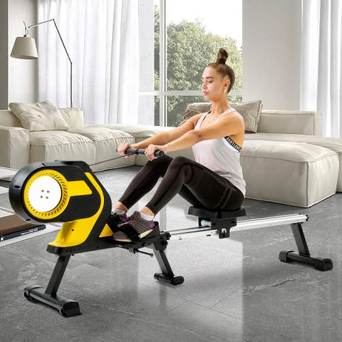 Magnetic Rowing Machine with LCD Monitor, Compact Folding Rower