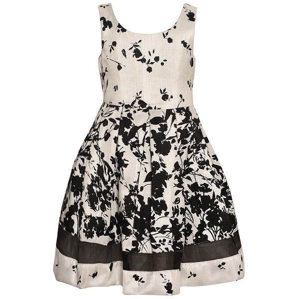 9a8a67bfd Shop Bonnie Jean Little Girls Ivory Black Floral Print Sleeveless Dress -  Free Shipping On Orders Over $45 - Overstock - 18166008