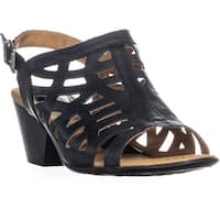 Born Dixie Perforated Buckle Heeled Sandals, Black