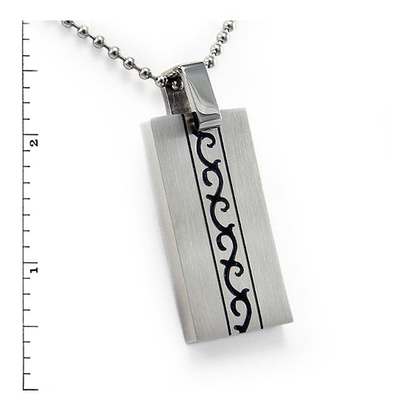 Stainless Steel Square Pendant with Tribal Design