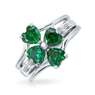 Lucky Four Leaf Green CZ Flower Shamrock Clover Inset Ring Set For Women For Teen 925 Sterling Silver Cubic Zirconia