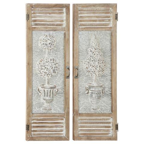 "Large Wood And Metal Garden Door Wall Decor Panels Set Of 2 15"" X 52"""
