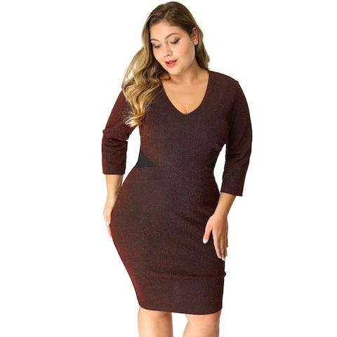 Women's Plus Size V Neck 3/4 Sleeve Glitter Sheath Knit Dress - Wine Red