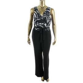 NY Collection Womens Plus Matte Jersey Floral Print Jumpsuit